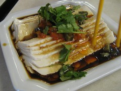 Silken dofu with century eggs (kattebelletje) Tags: food shanghai chinesefood tofu  centuryeggs pidan doufu china2008 silkentofu  duizendjarigeeieren