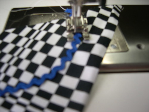 Sewing on the rick rack with zig zag stitch