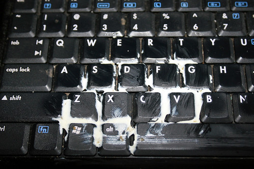 cream cheese on keyboard