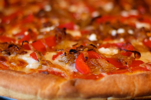 Pizza with Caramelized Onions and Roasted Red Peppers - Photo by by <p>by <a href=