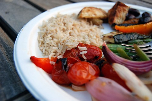 Vegetable Kabobs and Brown Rice