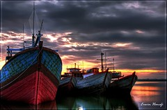 Dockyard sunset (G Erwin H ( Off )) Tags: sky reflection water canon indonesia java twilight central hdr clous dockyard blueribbonwinner cilacap golddragon abigfave w