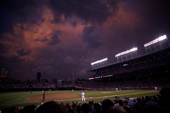 Clouds Over Wrigley (Joshishi) Tags: sunset chicago storm game field weather night clouds dark lights baseball stadium cubs wrigley 18mmf28d