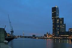 Good night Rotterdam (Pieter Musterd) Tags: haven holland water night canon rotterdam nightshot nacht harbour nederland thenetherlands montevideo avond hotelnewyork euromast rijnhaven pieter007 canoneos400d pietermusterd