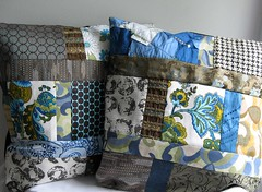 Pillows (betcx) Tags: blue wedding brown green gold silk pillows fabric gift scraps patchwork upholstery upcycle spongetta