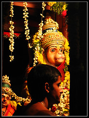 Hindu- Chariot of Anjaneya (Midhun Manmadhan) Tags: india festival lowlight god religion divine hanuman tradition hindu diety indiangod hindugod anjaneya canonpowershots3is