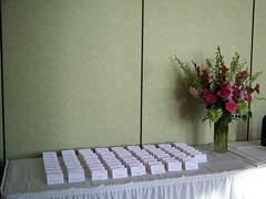 Place Card Table at DiNolfo's in Homer Glen (Mitchells Flowers) Tags: pink flowers wedding chicago green spring reception gerbera vase hydrangea mitchells arrangements pinkroses orlandpark placecardtable dinolfos mitchellsorlandparkflowers chicagolandarea