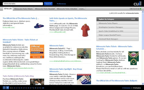 """Minnesota Twins"" search results on Cuil.com for 07/28/08"