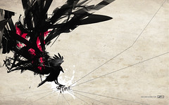 blackbird wallpaper for /3 (---stress---origami samurai!) Tags: wallpaper abstract black bird composition photoshop flight sorin s3 bechira slashthree