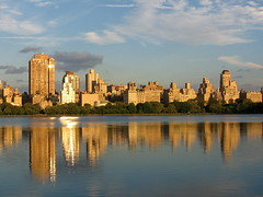 Reflections on Central Park Reservoir (jeff schultz photography) Tags: nyc newyorkcity sunset sky reflection water clouds centralpark reservoir uppereastside guggenheimmuseum jacquelinekennedyonassisreservoir explored