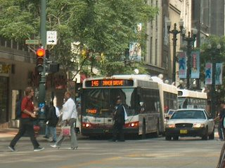 Looking north on State Street in downtown Chicago Illinois. september 2006.