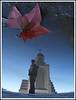 Reflejos (Errlucho) Tags: chile santiago water azul hojas agua natural catedral iglesia cruz cielo espejo otoño invierno mirada templo hombre reflejos suelo charco maipú