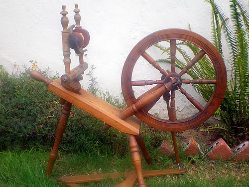 """Norwegian Wood"", My Sister's New Antique Spinning Wheel"