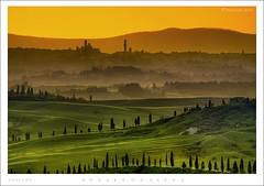 Sunset on Siena - Tuscany ( HDR ) (Texasflood_it) Tags: sunset italy tree art landscape lights italia tramonto photos country fine hills tuscany siena luci toscana colline nuances blueribbonwinner cipressi pesaggio multimegashot goldenmasterpiece