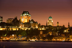 Quebec City Sunset (James Knox) Tags: pink sunset vacation sky hotel quebec quebeccity chateau chateaufrontenac chateaux vieuxquebec oldquebec saintlawerenceriver fleuvesaintlaurent quebectrip saintlawrenceriver villedequebec 400anniversary quebecvacation quebec400 qubec400