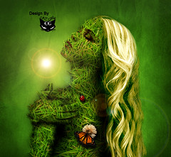 magical Grass (  T_ !  ) Tags: woman flower green nature girl grass cat butterfly dark hair design ladybird kuwait magical q8