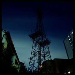 Steel Life in Japan (gullevek) Tags: longexposure light sky building 6x6 film japan night geotagged lights iso100 tokyo kodak bronica wires electricity   housebuilding  bronicasqai  zenzabronicasqai kodakektachromeepp100 zenzanonps50mmf35 geo:lat=35562183 geo:lon=139689083