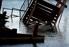 a step down (normaltoilet/ LSImages) Tags: ontario canada abandoned water boat nikon rust ship jordan lakeontario ruined d40 jordanstation