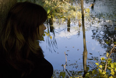 Blue sky in the water (Sergey Vladimirov) Tags: autumn trees portrait sky woman nature girl clouds forest student pond outdoor mirrow mipt fpfe