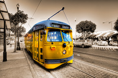 F Line Street Car in San Francisco (big_pixel_pusher) Tags: sanfrancisco classic photoshop vintage rail duotone streetcar hdr photomatix 1063 fineartphotos superaplus aplusphoto colourartaward alemdagqualityonlyclub msr2010calendarcontest bppfoto msrcalendarsubmission