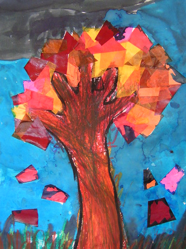 autumn tree made in my class by 5 year old