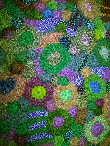 freeform knit & crochet fabric closeup
