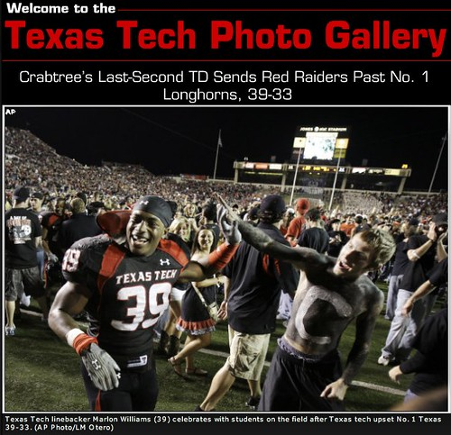 Texas Tech Celebrates Win over Texas