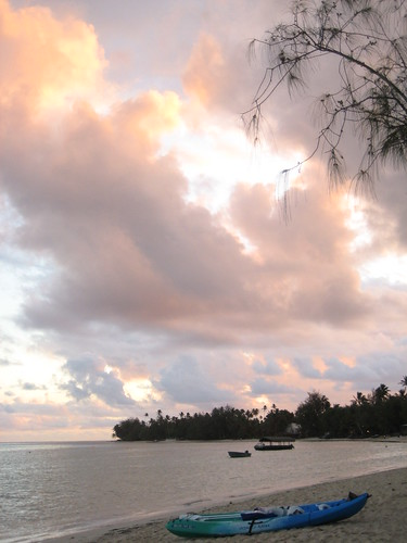 Cook Islands beach at sunset