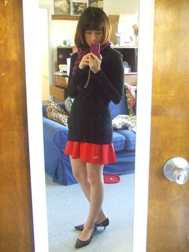 Purple striped scarf, Gap; Black Deep V Sweater/dress, Jimmyz; Red Tennis Skirt, thrifted; Bronze Kitten Heels, Carlos Santana