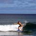 Shannon Barlow surfing in Hanalei Bay, Kaua'i