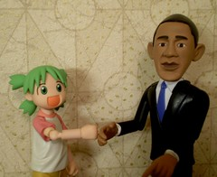 Yotsuba & Obama (Sasha's Lab) Tags: macro cute marriott toy actionfigure hotel action president manga explore kawaii figure obama inauguration koiwai potus kaiyodo crossover barack yotsubato yotsuba explored revoltech  fistbump presidentelect enjoythecampaign