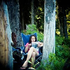 Sam Badger lake, Oregon (sfhodgson) Tags: people lake 120 film oregon holga 120film alpinist badgerlake