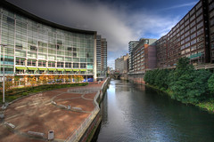 Irwell At Blackfriars (Ant Moran) Tags: trees sky water clouds buildings river manchester bin seats blackfriars benches irwell