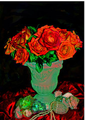 Christmas Roses (and poem: A Spell of Winter) (faith goble) Tags: christmas xmas winter roses stilllife snow art ice urn seashells photoshop death star artist poem alone photographer bluegrass stones kentucky ky faith digitalpainting card photograph narnia creativecommons poet writer chilly lonely satin baroque rococco bowlinggreenky goble elementa mywinners bowllinggreen citrit giftsfromnature rubyphotographer faithgoble origiinalpoem ccbyfaithgoble gographix faithgobleart