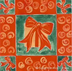 Christmas Gift with Bow ~ Original Gouache Painting ~ Magnet (Suzanne MacCrone Rogers ~ Italian Girl in Georgia) Tags: christmas red holiday green girl cane georgia gold italian berries candy treats magnets holly ornament gift bow watercolour etsy gouache filigree csst cssteam