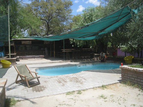The pool and bar at delta rain