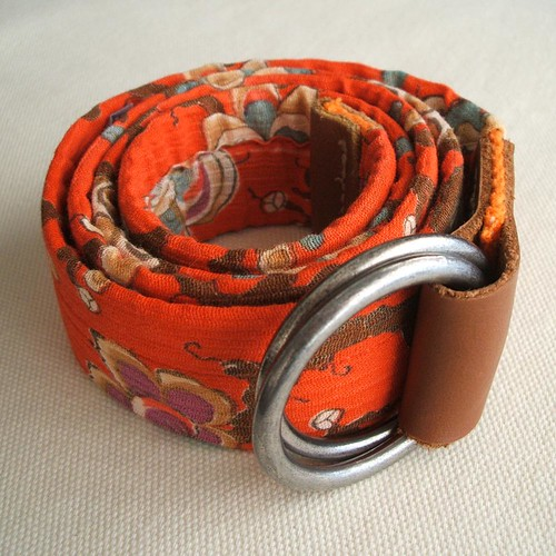 Vintage orange crepe fabric repurposed belt