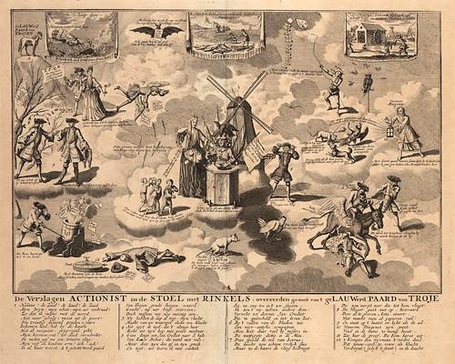 006-El derrotado corredor de bolsa sentado en su silla con cascabeles al haber sido asolado por el laureado caballo de troya