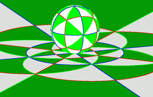 Stereographic projection, the Riemann sphere and a cubic tiling.