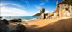 Abel Tasman cove (Simon Christen - iseemooi) Tags: ocean trees newzealand cloud mountains green beach rock sand paradise wave southisland rockformation 5photosaday