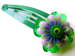 Green and Purple Vintage Flowers Barrette