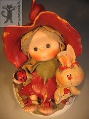 red leaf girl with pet bunny (marytempesta) Tags: rabbit bunny doll heart handmade crafts gifts clay ladybug polymer