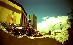 torn view (ii) Tags: camera history architecture vintage toy hawaii theater demolition varsity honolulu vivitar 22mm destuction vivitarultrawideandslim