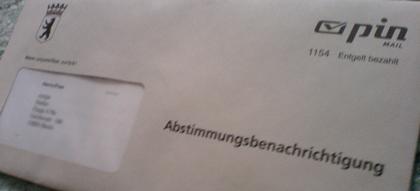 Abstimmungsbenachrichtigung Volksentscheid für den Erhalt des Flughafen Tempelhof