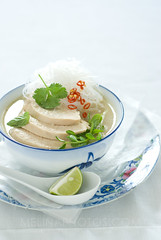 coconut chicken soup (mwhammer) Tags: blue red white hot color green texture chicken ceramic asian soup design bright display market herbs cream spoon bowl fresh crisp creation noodles spicy lime coconutmilk foodart styling soothing creamy chilies tangy foodstyling melinahammer