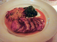 Grilled Liberty Duck Breast w/ Five-Spice Sauce, Spring Onion Cake, and Spinach