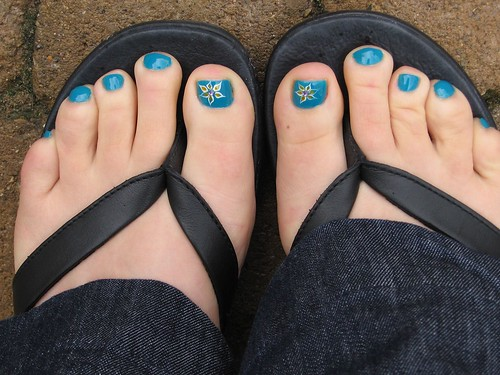 Blue China Glaze Toenails Design toe nail art
