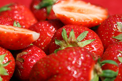 Strawberry Fields Forever (Katka S.) Tags: red summer food detail macro green fruit spring strawberry sweet strawberries tasty