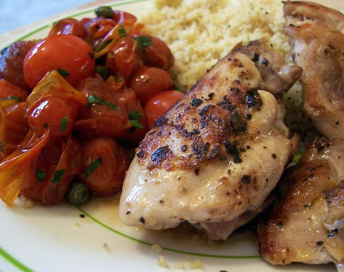 Grilled Chicken Thighs with Roasted Tomatoes