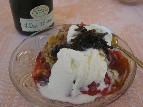 plum crumble with ice cream and hibisucus flower preserve